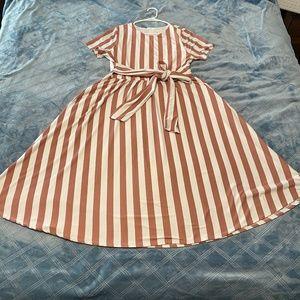 Reborn J Pink Stripe Wrap Dress XL